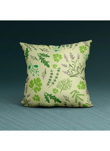 Artikel Yeşil Mini Yaprak Desenleri Dekoratif Çift Taraflı Yastık Kırlent Kılıfı 45x45 cm Renkli